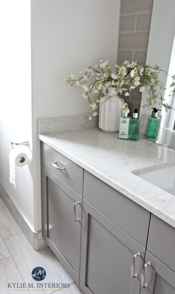 Benjamin Moore Classic Gray. Best gray for vanity or cabinets, Benjamin Moore Metropolis p and Bianco Drift bathroom countertop by Kylie M Interiors