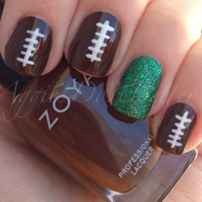 football Nails  These are so cute! I love the idea of making one in the color of your favorite team. Very Cool Idea