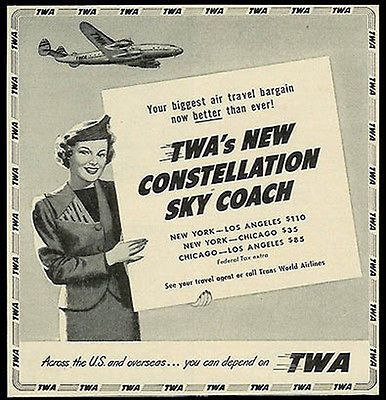 TWA Stewardess Airplane Constellation Sky Coach 1950 Print Ad