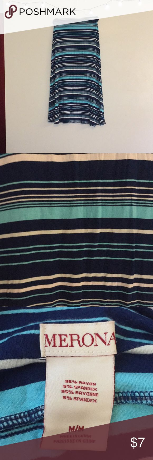 Merona Blue and White Stripped Maxi Skirt T shirt material soft and comfortable maxi skirt. Only worn a few times and in like new condition. Merona Skirts Maxi
