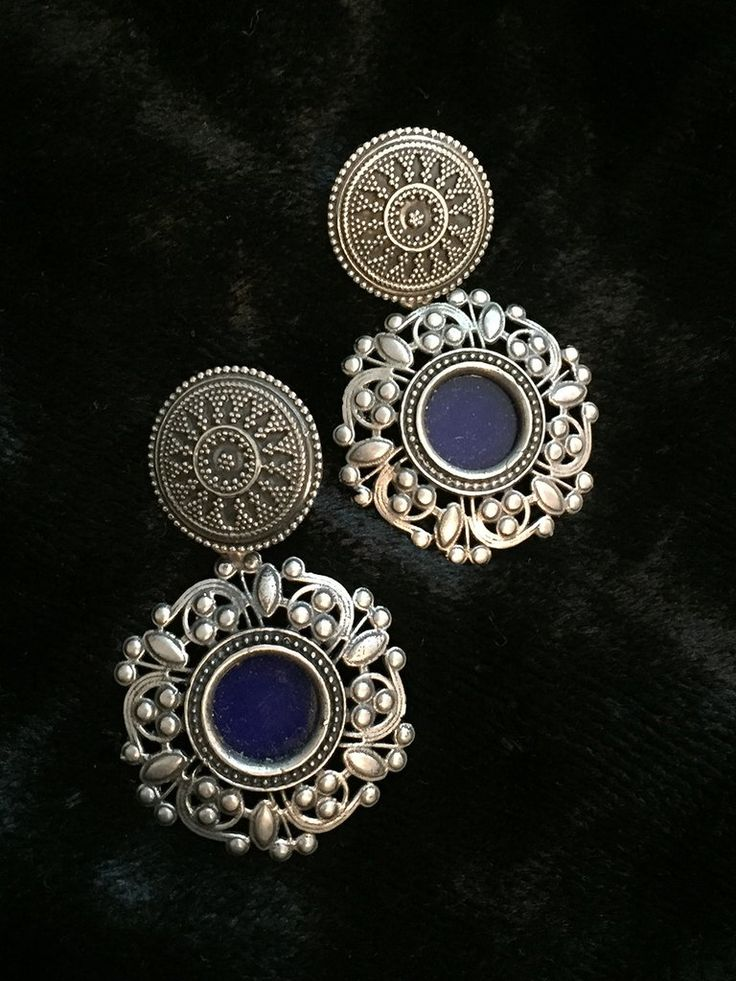 Blue Glass Floral Silver Earrings