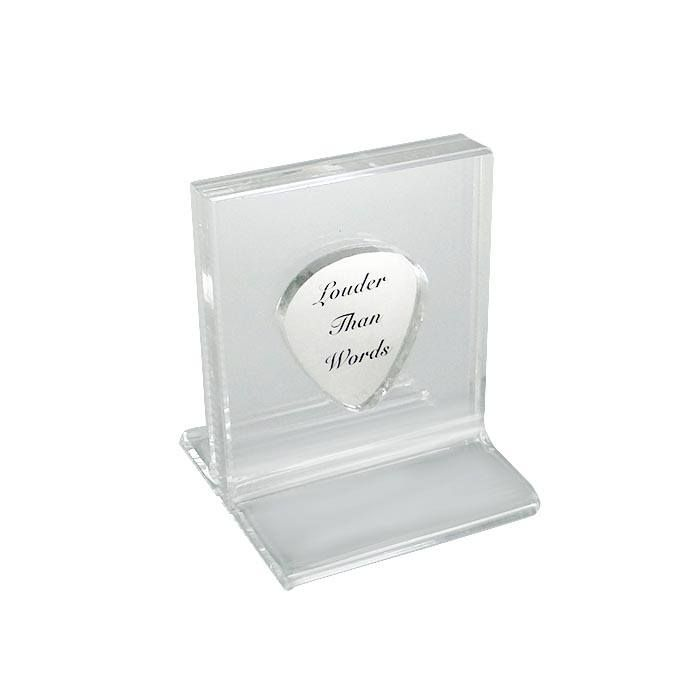 Silver guitar pick in solid silver 925° and laser engraving, placed in an acrylic case (plexiglass) for an acrylic case for protection and better presentation. By Shine4ever.gr!