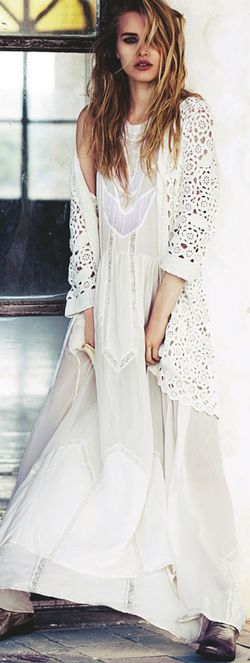 New Bohemian look, crochet long sweater over maxi dress for a modern hippie allure. FOLLOW http://www.pinterest.com/happygolicky/the-best-boho-chic-fashion-bohemian-jewelry-gypsy-/ for the BEST boho chic fashion trends & jewelry.