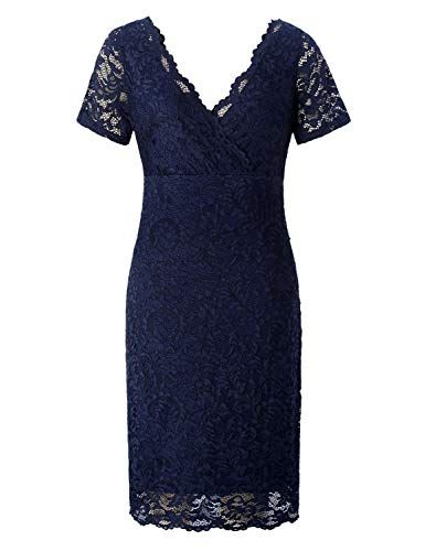 a91530b4db1 Chicwe  Women Plus Size Stretch Scalloped Lace Bodycon Dress - Party   Wedding Cocktail Dress Twilight Navy 1X
