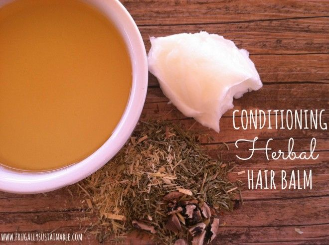 How to make your own conditioning herbal hair balm by Frugally Sustainable