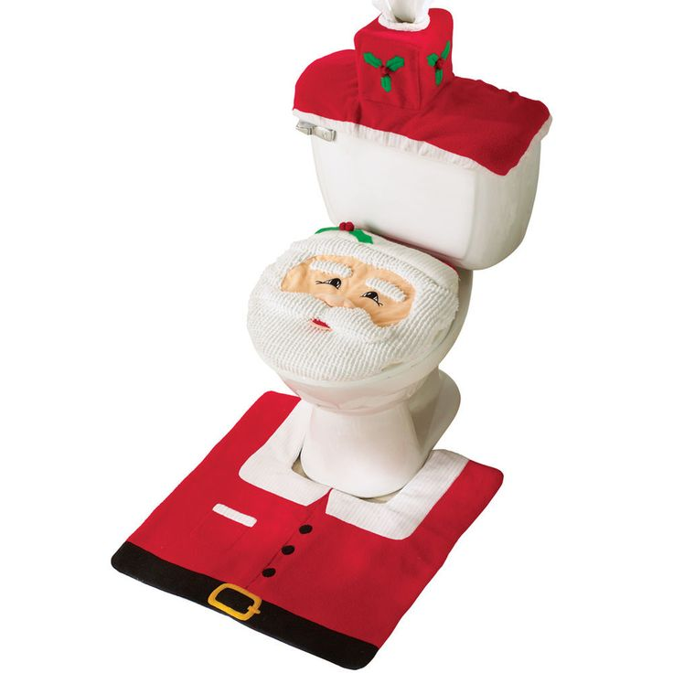 Santa Toilet Seat Cover And Rug Set, by Collections Etc #CollectionsEtc #Contemporary #AllOccasion