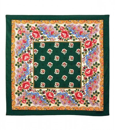 Foulard coton «La Pompadour » vert 60x 60 cm