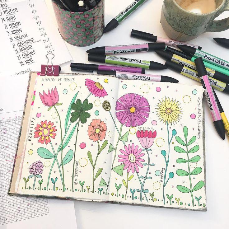 I N S P I R E D  B Y  N A T U R E ✍🏻🌸🌿💗 A dozen flowers in my art journal and #dozens of dots and seedlings - day 7 completed in #artmarks30daychallenge with my #promarkers and #fabercastell pens 🌺🍀💕 En blomsterdoodle sparker min fridag i gang. Ønsker dig den skønneste dag af slagsen - og rigtig god bedring til @alicewinther og @katjaht 😘💕🦋 #adoodleaday #doodling #dotdotdot #iamadotgirl #makeyourmarks #artmarks #artmarks30daychallenge #day7 #dozens #doodle #floweryourlife…