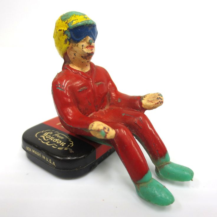 """Vintage Toy Race Car Driver 1 3/4"""", Red uniform, Goggles and Yellow Helmet"""