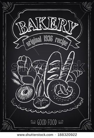 Vintage Bakery Poster. Freehand drawing on the chalkboard: bread and other pastries - stock vector