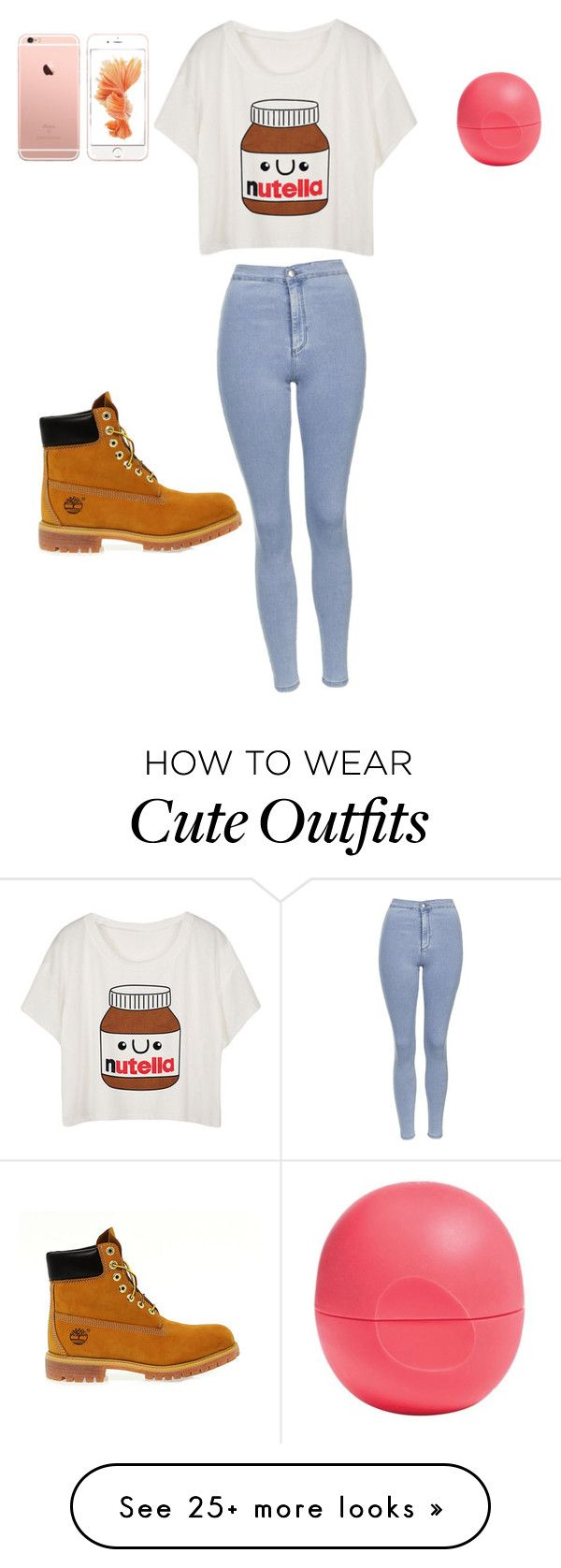 """Cute polyvore outfit"" by polyvoregirl880 on Polyvore featuring Topshop, Timberland and Eos"