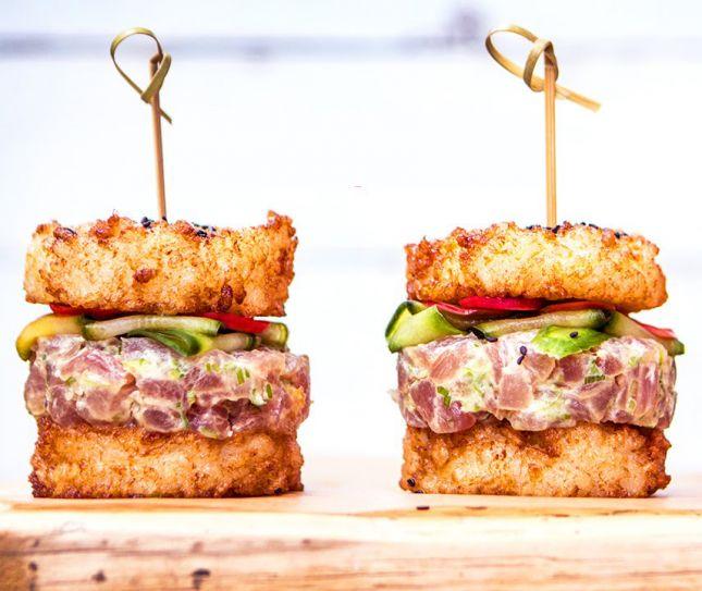 To perfect your Sushi Burger deep fry the bun.