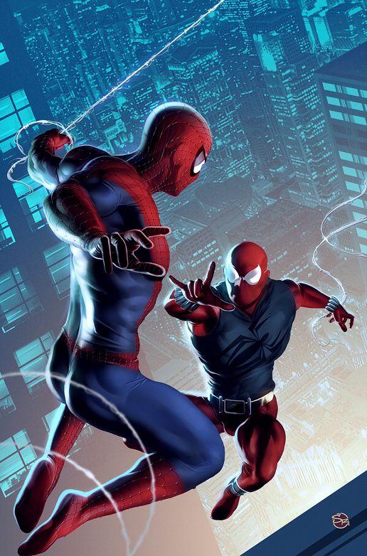 "Comics | Spider-Man vs Scarlet Spider | Reblogged From > comicsforever: "" Spider-Man Vs The Scarlet Spider // artwork by Stefani Renee (~Rennee,2009) """