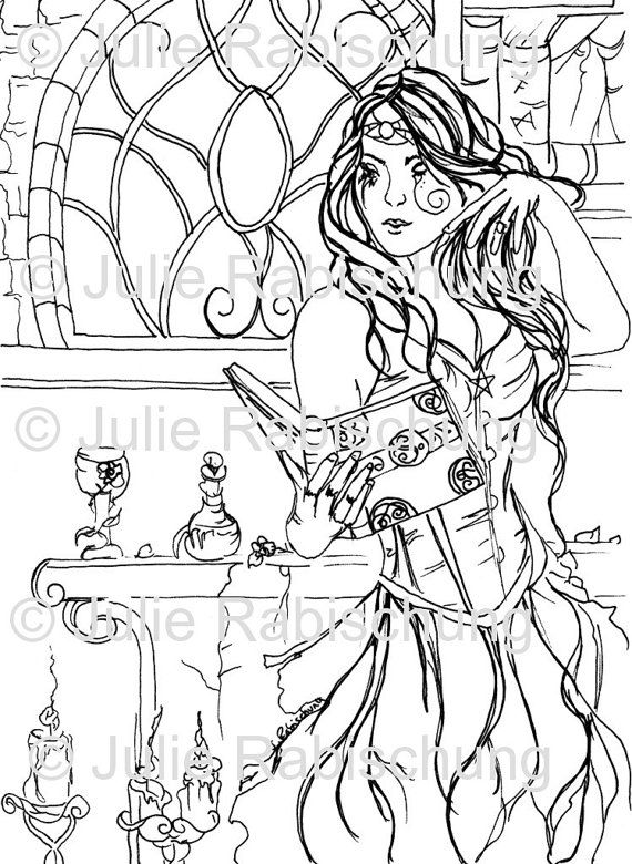 digital stamp coloring page fantasy witch magic book spells light commercial use