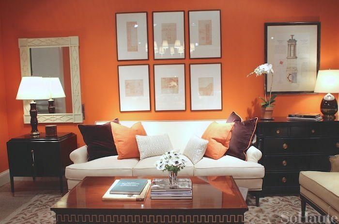 enchanting orange white living room | 64 best Orange Living Room images on Pinterest | Orange ...