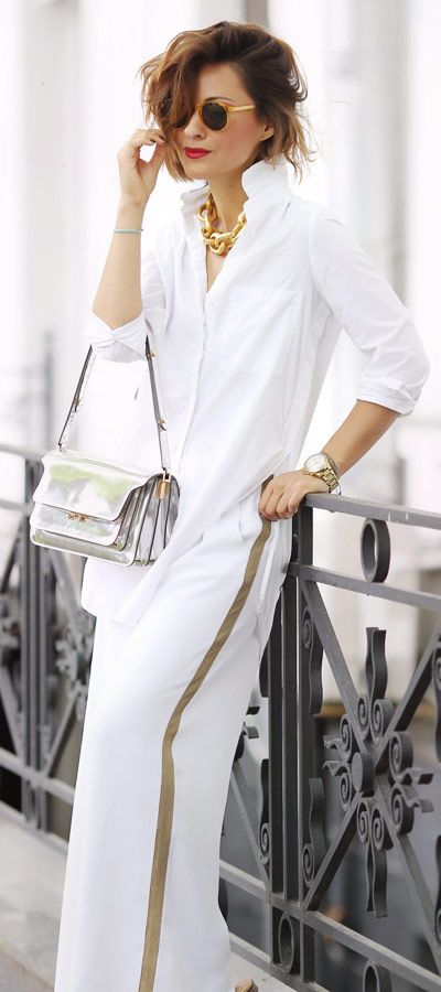 total white summer outfits | side stripe trousers outfit | marni trunk bag outfit | Ellena Galant Girl
