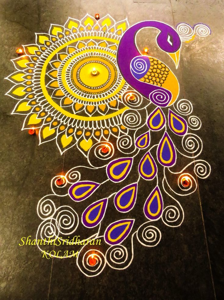 #kolam#mandala#purple#yellow
