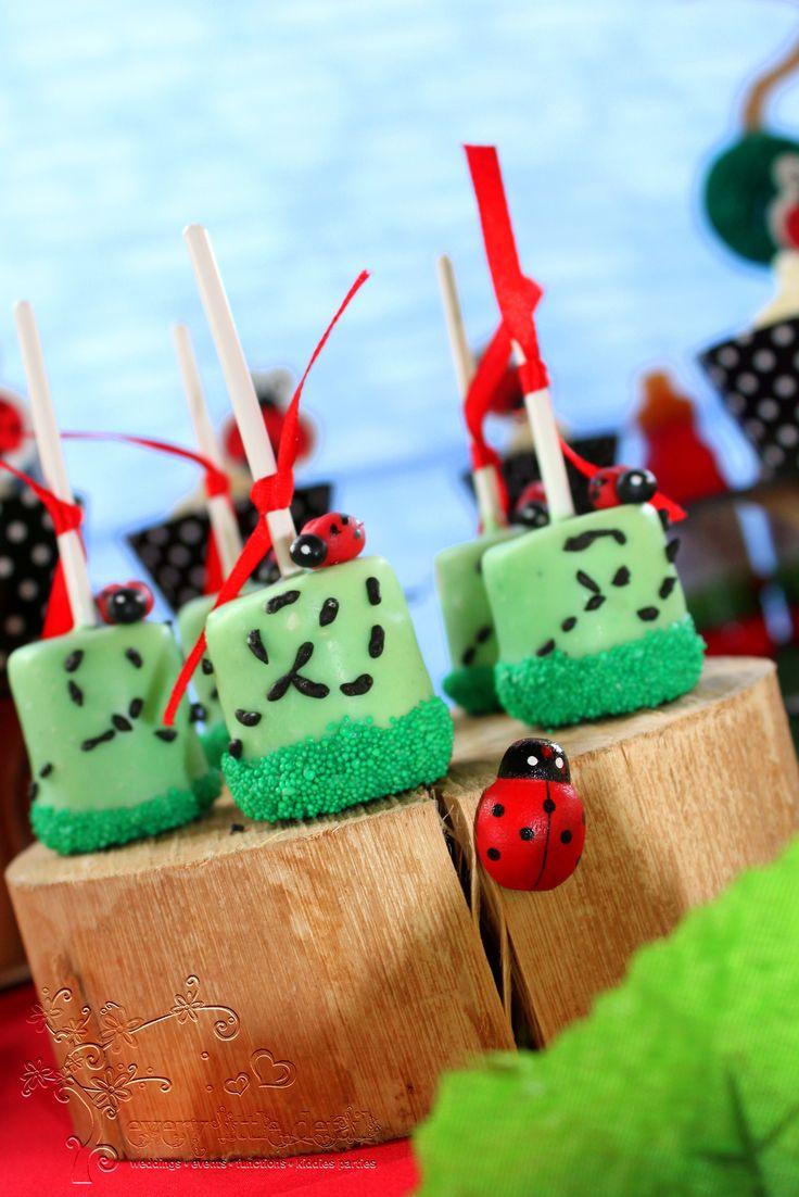 Ladybug Marshmallow Pops #Ladybug #1stBirthday #DessertTable