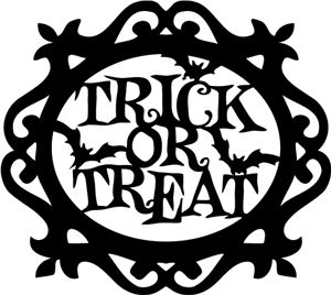 Silhouette Online Store - View Design #33400: halloween trick or treat title ornate frame