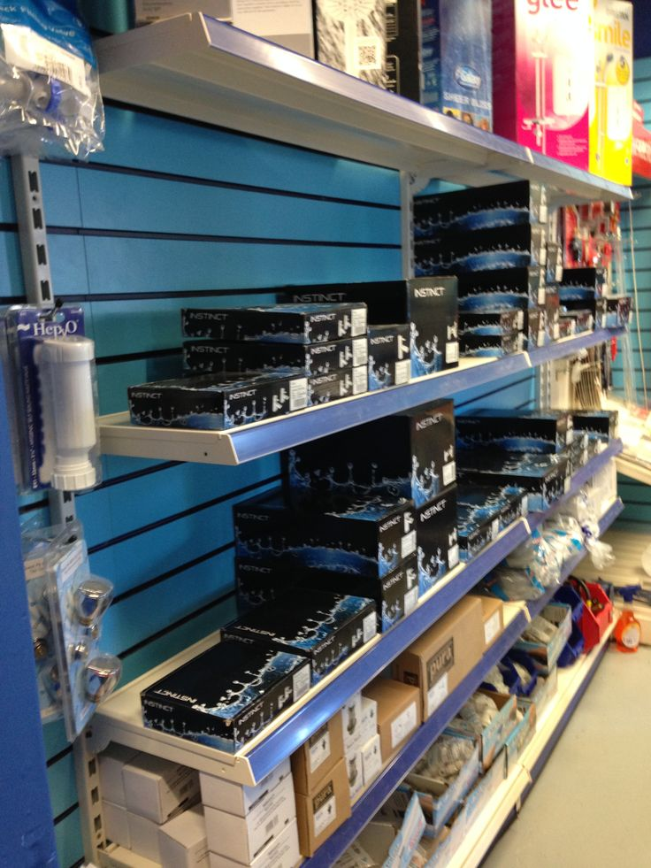 Plumbstop's shelving does a great job of showing off their products, and the bright blue ties right into their brand colours.  Click the image to check out more of our shelving options.