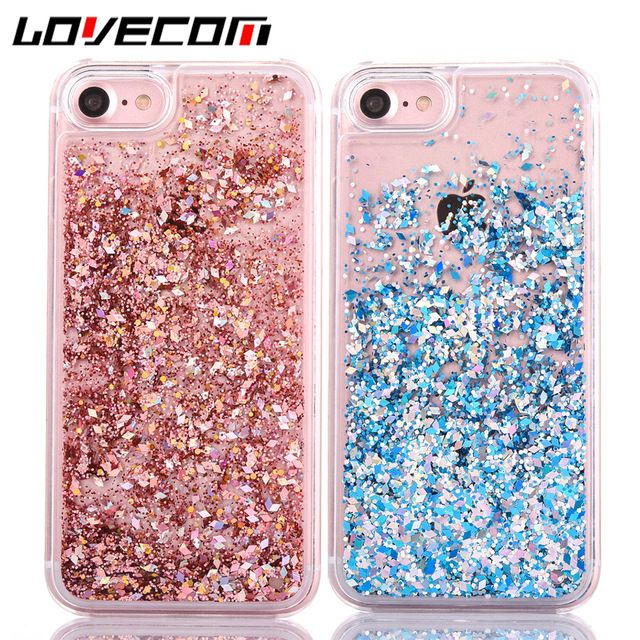 LOVECOM Dynamic Liquid Glitter Colorful Paillette Sand Quicksand Hard Back Cover Phone Case For iPhone 4S 5 5C 5S SE 6 6S 7 Plus