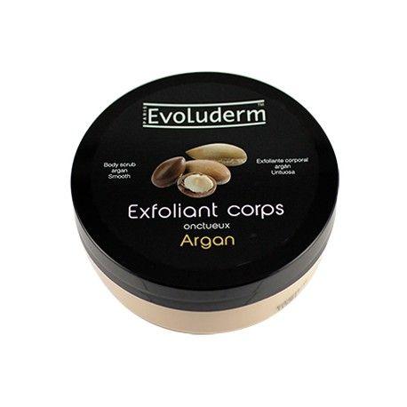 Crème exfoliante à l'argan de la marque Evoluderm, pour adoucir et tonifier la peau en éliminant les cellules mortes et les impuretés.