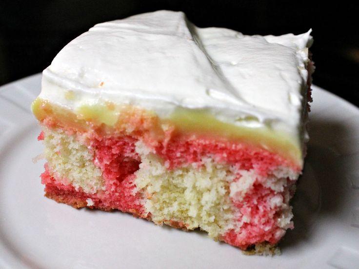 Strawberry Vanilla Poke Cake