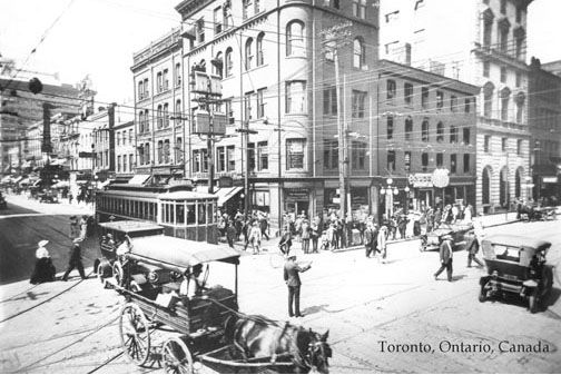 CCT0002 - Looking towards the northeast corner of Yonge street and King street, Toronto, Ontario c1912.