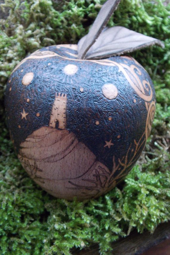 Avalon Wooden Apple with pyrography by salixpyrography on Etsy