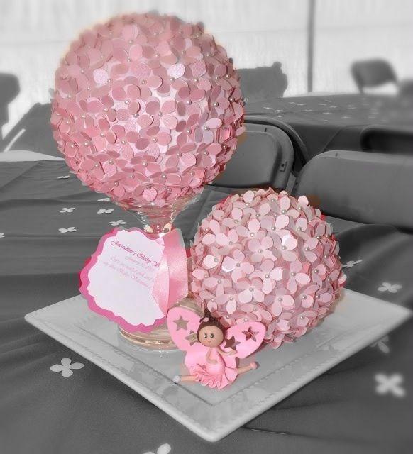 Centerpieces pink flowers ballerina ballet baby for Baby shower flower decoration
