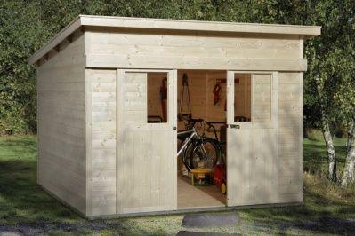 Pultdach-Gerätehaus mit großer Schiebetür   Gartenhaus Gerätehaus aus Holz - Gartenhäuser
