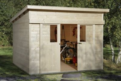 Pultdach-Gerätehaus mit großer Schiebetür | Gartenhaus Gerätehaus aus Holz - Gartenhäuser
