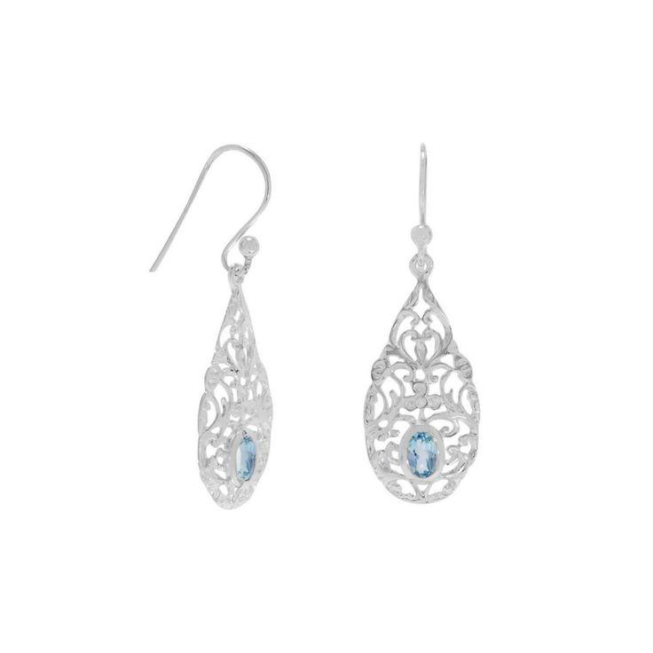 Zilveren Oorbellen Ornament met blauwe Topaas