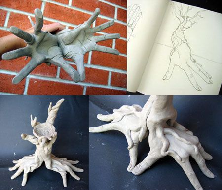 learning about the work of Rodin, and studying their own hands through clay. sculpting two hands interacting with one another, or one hand interacting with an object.