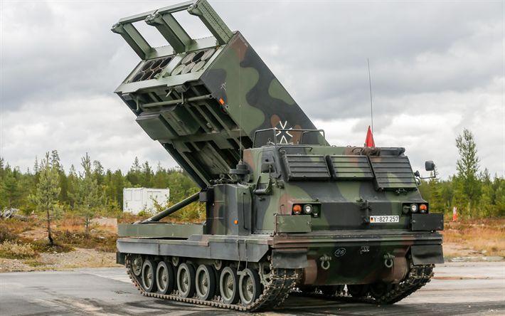 Descargar fondos de pantalla El trompetista 01046, Múltiples de Lanzamiento de Cohetes Sistema, alemán M270 A1, vehículos blindados, el ejército de Alemania