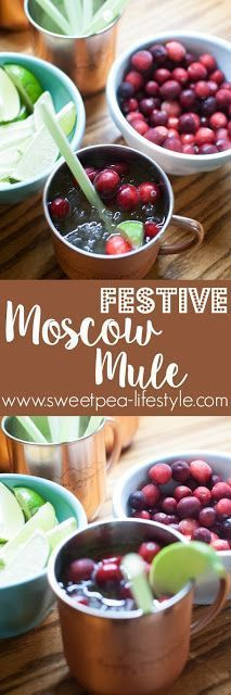 Festive Moscow Mule! This holiday cocktail is sure to light up your party! Cranberries, ginger beer + moonshine and vodka... Don't forget to arrange your drink station so your guests can help themselves!