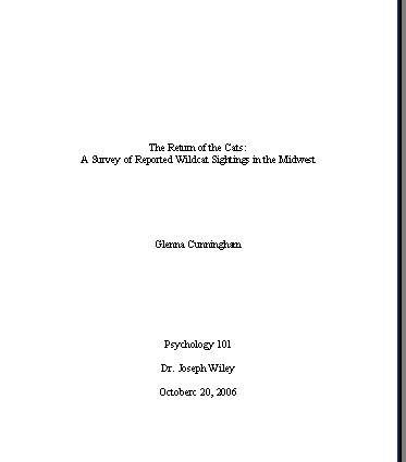 format for an essay title page