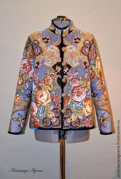 """Куртка из платка """"Радоница""""-2. - цветочный,Куртка из платка,одежда из платков"""