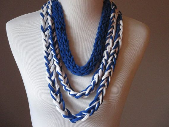 Navy Blue and White T-Shirt Necklace, Fingerknit & Crochet Rope Necklace, Versatile Necklace, Handmade T-Shirt Necklace, Upcycled T-Shirt