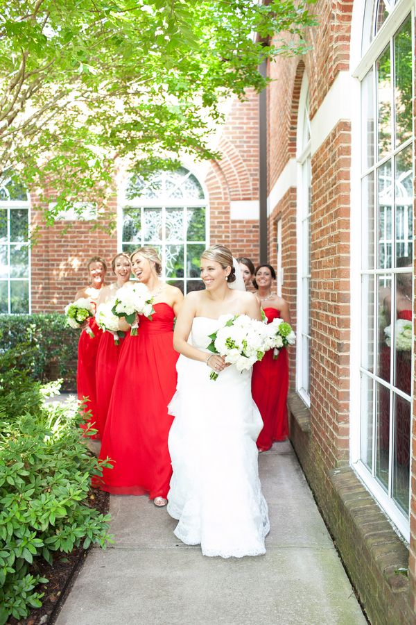 Strapless Red Bridesmaids Dresses | photography by http://nancyrayphotography.com: Catholic Church
