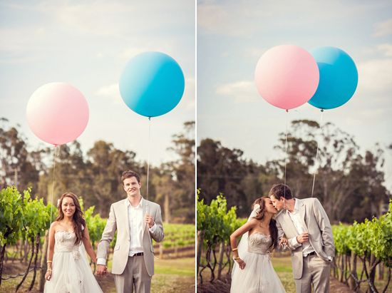 Quirky & Fun - Boy & Girl Balloons for Hunter Valley Wedding photos