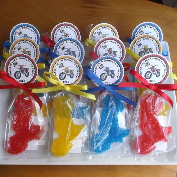 Motorcycle soap favors are perfect for a dirt bike birthday party or motorcycle party. Instead of candy, give them away at your motocross or dirt