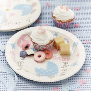 Pack of 8 baby themed paper plates. £3.99 from the Fuschia Boutique at www.fuschiadesigns.co.uk.