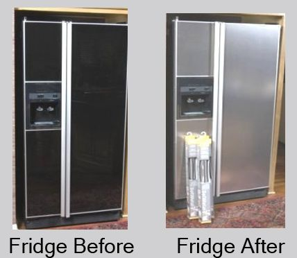 Amazing DIY stainless steel makeover for a fridge you're not fond of! Painting  Appliances ...