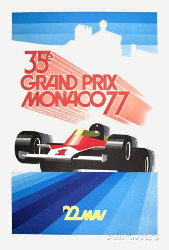 Monaco Grand Prix 1977 Art par Roland Hugon sur AllPosters.fr