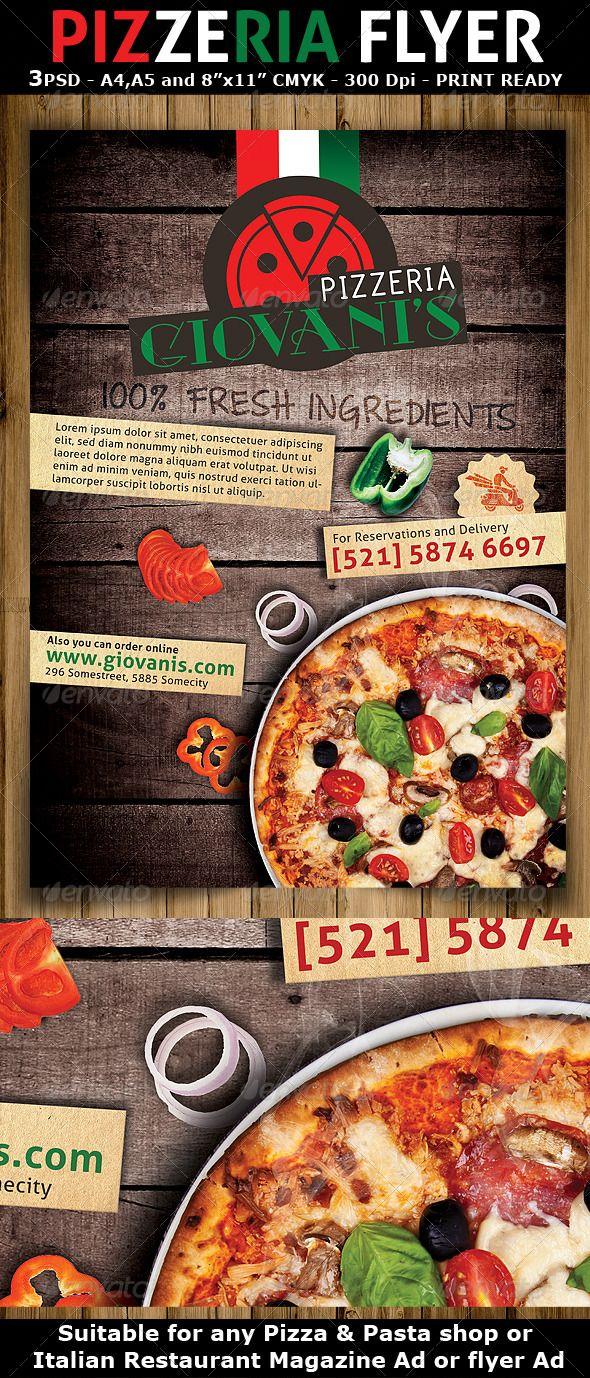 pizzeria  italian restaurant ad flyer template
