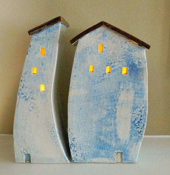 Blue Ceramic Houses Two Blue Ceramic Houses Mykonos Greece House . . . Free Shipping