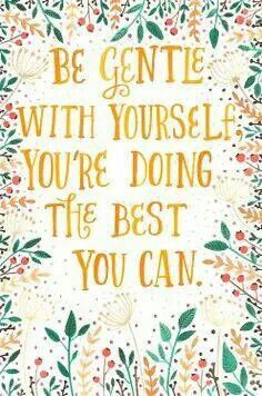 Be gentle with yourself you're doing the best you can
