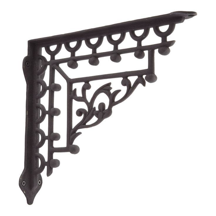 Mediterranean Iron Shelf Bracket - Black Powder Coat