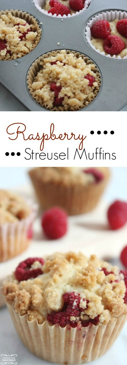 Homemade Raspberry Streusel Muffins Recipe! Easy Breakfast or Brunch Recipe!